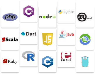 Logos of some of the DevOps tools and programming languages that can be used with Kaa IoT platform