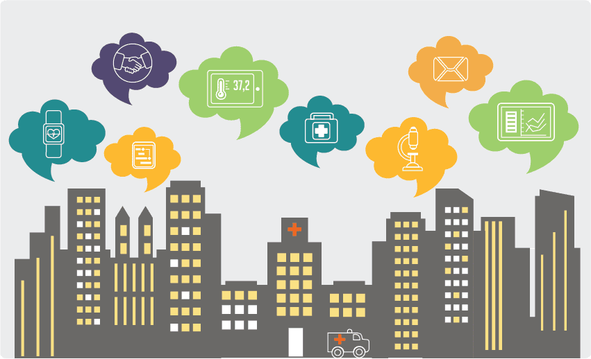 Smart city with smart healthcare devices icons
